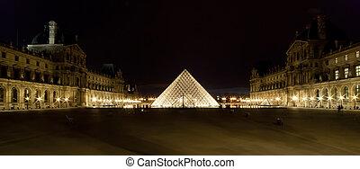 palacio, pirámide louvre, completado, 1989, (by, night),...