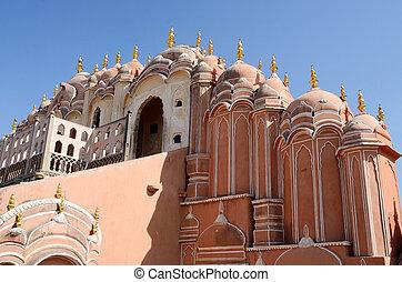 palacio, piso, india, jaipur, rajasthan, cima, mahal, hawa