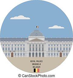 palacio, real, lugar famoso, bélgica, brussels.