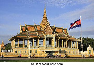 palacio, real, pavailion, camboya, luz de la luna, penh,...