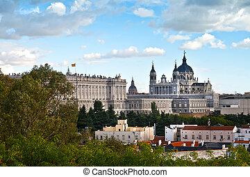 palacio real, y, almudena, catedral, madrid