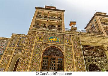 palacio, sol, golestan, edificio, exterior, torre