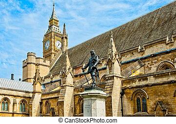 palacio, westminster, exterior, estatua, señor, cromwell