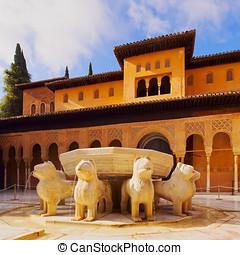 Palacios Nazaries in Granada, Spain - Patio de los Leones in...