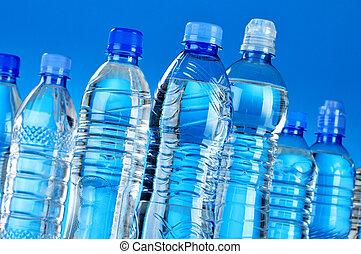 palack, ásvány, válogatott, műanyag, víz, zenemű