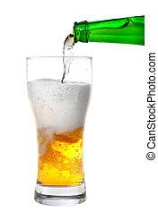 palack, elszigetelt, sör, zöld, öntés, pohár, fehér