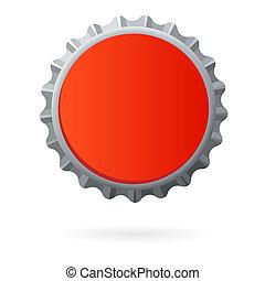 palack, elszigetelt, sapka, tiszta, piros