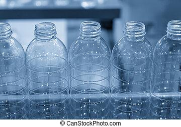 palack, kézbesítő, process., műanyag, víz, factory., új, ivás, gyári, öv