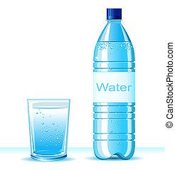 palack, közül, jó víz, és, pohár, white, háttér, .vector,...