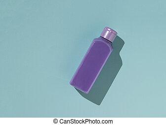 palack, műanyag, kozmetikum, bíbor, háttér., kék
