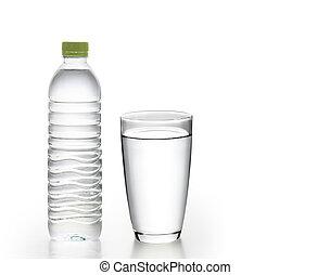 palack víz, noha, pohár