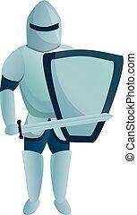 Paladin knight icon, cartoon style - Paladin knight icon. ...