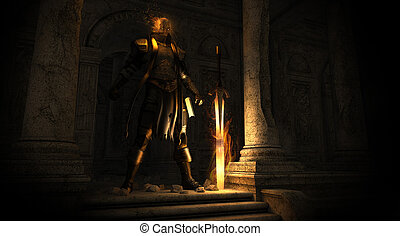 Paladin warrior - 3d render of a paladin warrior with a...