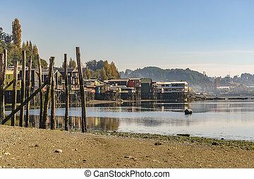 Palafito Houses at Lake, Chiloe, Chile