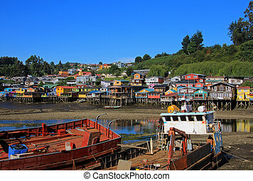 Palafito houses on stilts in Castro, Chiloe Island, Chile