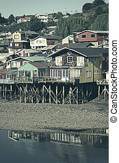 Palafito Stilt Houses in Castro, Chiloe Archipelago, Chile