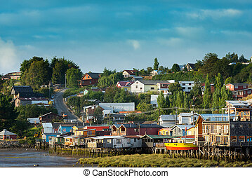 Traditional stilts houses known as palafitos in Castro, Chiloe island, Chile