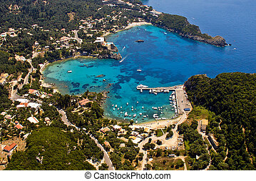 Palaiokastritsa, Corfu, Greece, aerial - Palaiokastritsa bay...