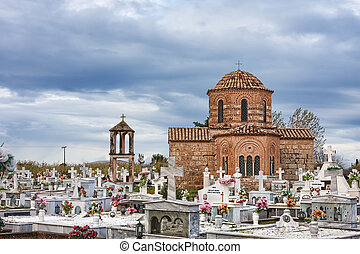 Palaiopanagia Manoladas church and cemetery in Peloponnese,...