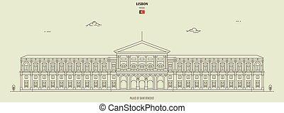 palais, benedict, lisbonne, repère, portugal., saint, icône