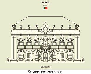 palais, braga, repère, raio, portugal., icône