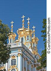 palais, catherine, rue, village, petersburg, russie, tsar