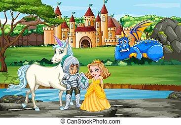palais, chevalier, princesse, scène