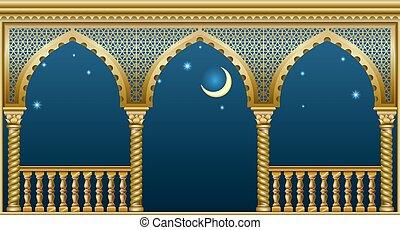 palais, conte fées, balcon
