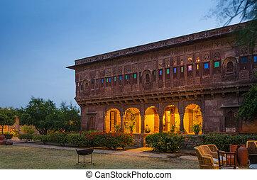 palais, dans, jodhpur, rajasthan, inde