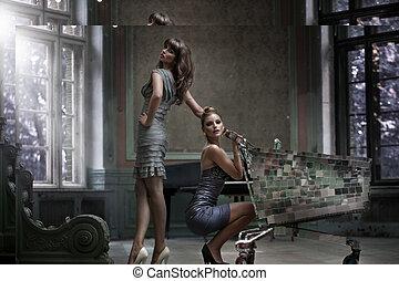 palais, deux femmes, poser, sexy