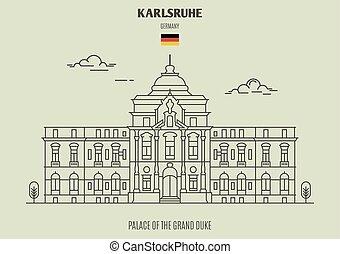 palais, duc, germany., karlsruhe, repère, grandiose, icône