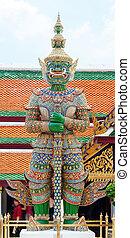 palais, gardien, phra, démon, bangkok, grandiose, wat, kaew
