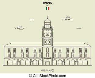 palais, gouverneur, parme, italy., repère, icône