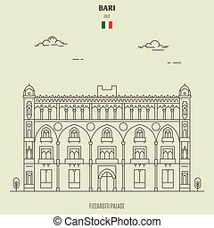 palais, italy., fizzarotti, repère, bari, icône