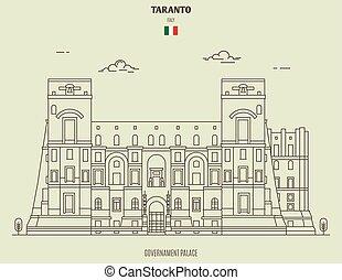 palais, italy., governament, repère, icône, taranto