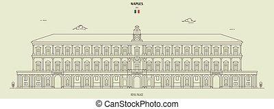 palais, italy., repère, naples, royal, icône