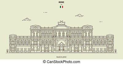 palais, justice, italy., rome, repère, icône