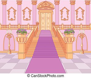 palais, magie, escalier, luxe