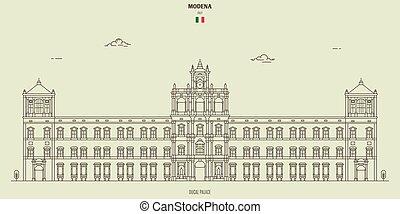 palais, modène, italy., ducal, repère, icône