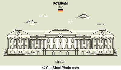 palais, potsdam, germany., repère, ville, icône
