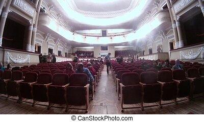 palais, remplit, scène, audience, sorcières, istviksky, avant, musical, auditorium
