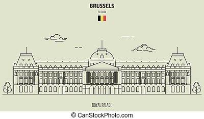 palais, repère, belgium., royal, bruxelles, icône