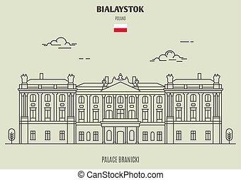 palais, repère, branicki, icône, poland., bialystok