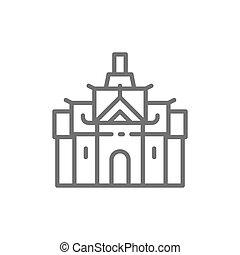palais, royal, bangkok, thaïlande, ligne, icon.