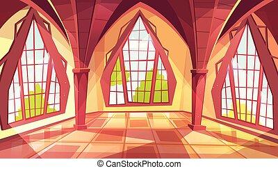 palais, salle bal, fenetres, illustration, vecteur, ou