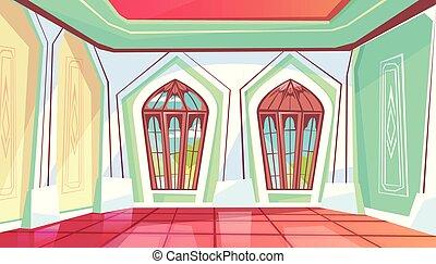 palais, salle bal, illustration, ou, vecteur, salle