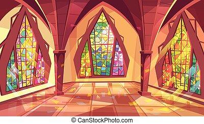 palais, salle bal, illustration, salle, vecteur, gothique, ou