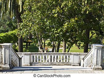 palais, vieux, véranda, marbre, grèce, fait, jardin, devant
