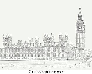 palais, westminster, croquis