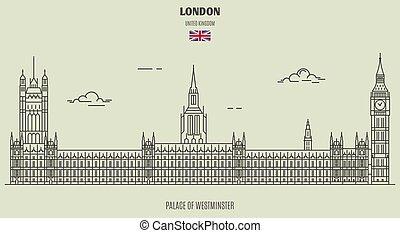 palais, westminster, uk., londres, repère, icône